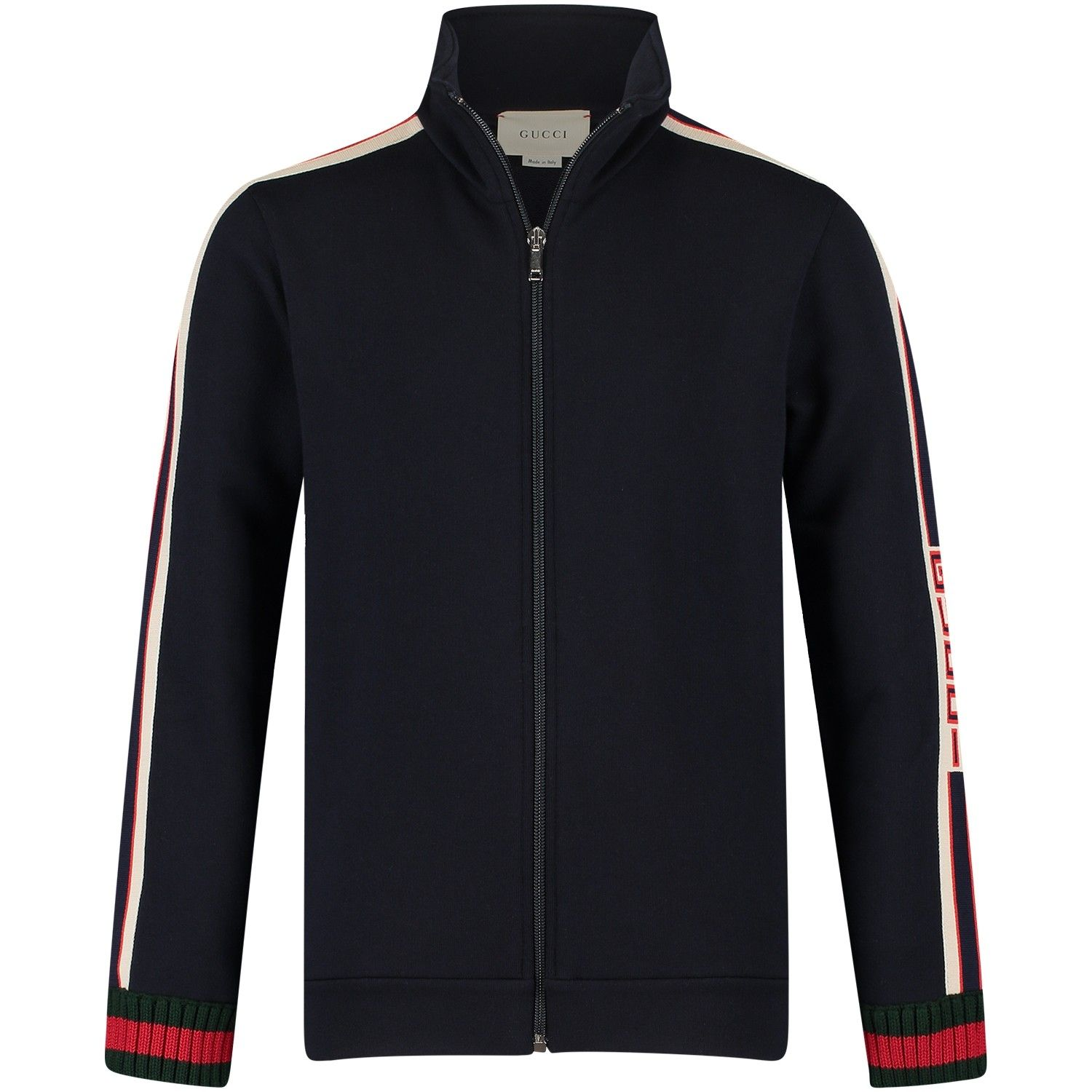 a59a2fe74 Black Gucci fleece jacket, cream strips along the arms and green/red ...