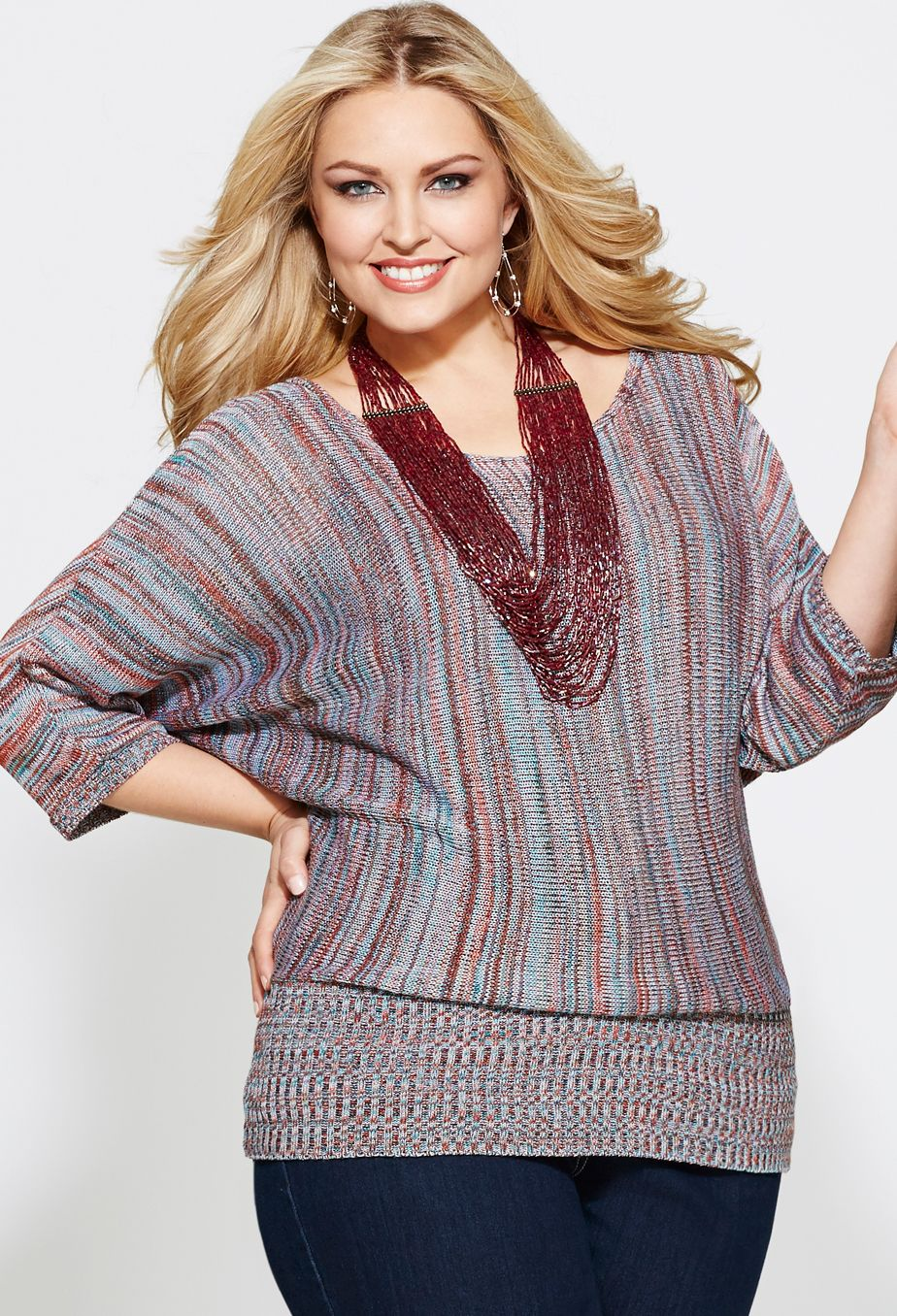 13f04e1335d Plus Size Striped Banded Bottom Sweater image