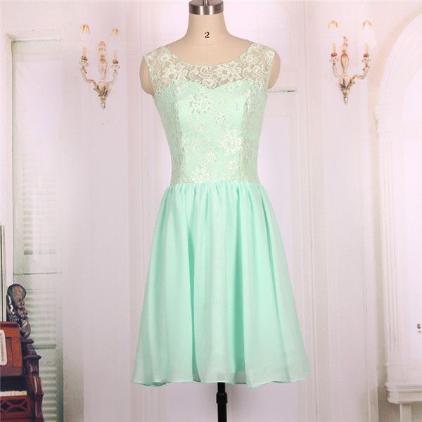 2016 New Cheap Chiffon Lace Mint Green Short Prom Dresses Gowns ...