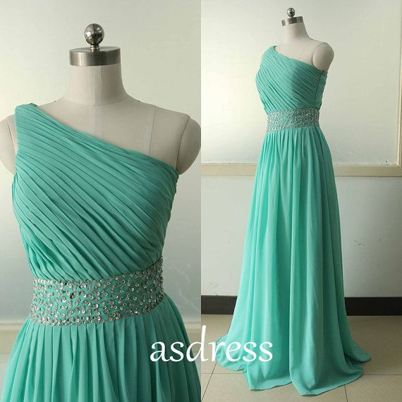 One Shoulder Bridesmaid Chiffon dress turquoise Party by ASDRESS