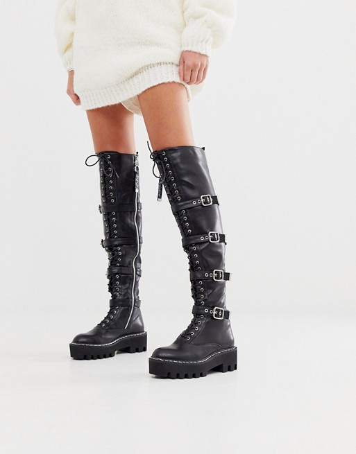 Lamoda black extreme lace up flat over the knee boots | ASOS