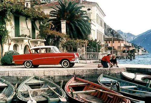 Switzerland? 1957-1960 Opel Olympia Rekord P1 Not entire clear where this might be, but I think it might be one of the Swiss lakes, like the Lugano lake.
