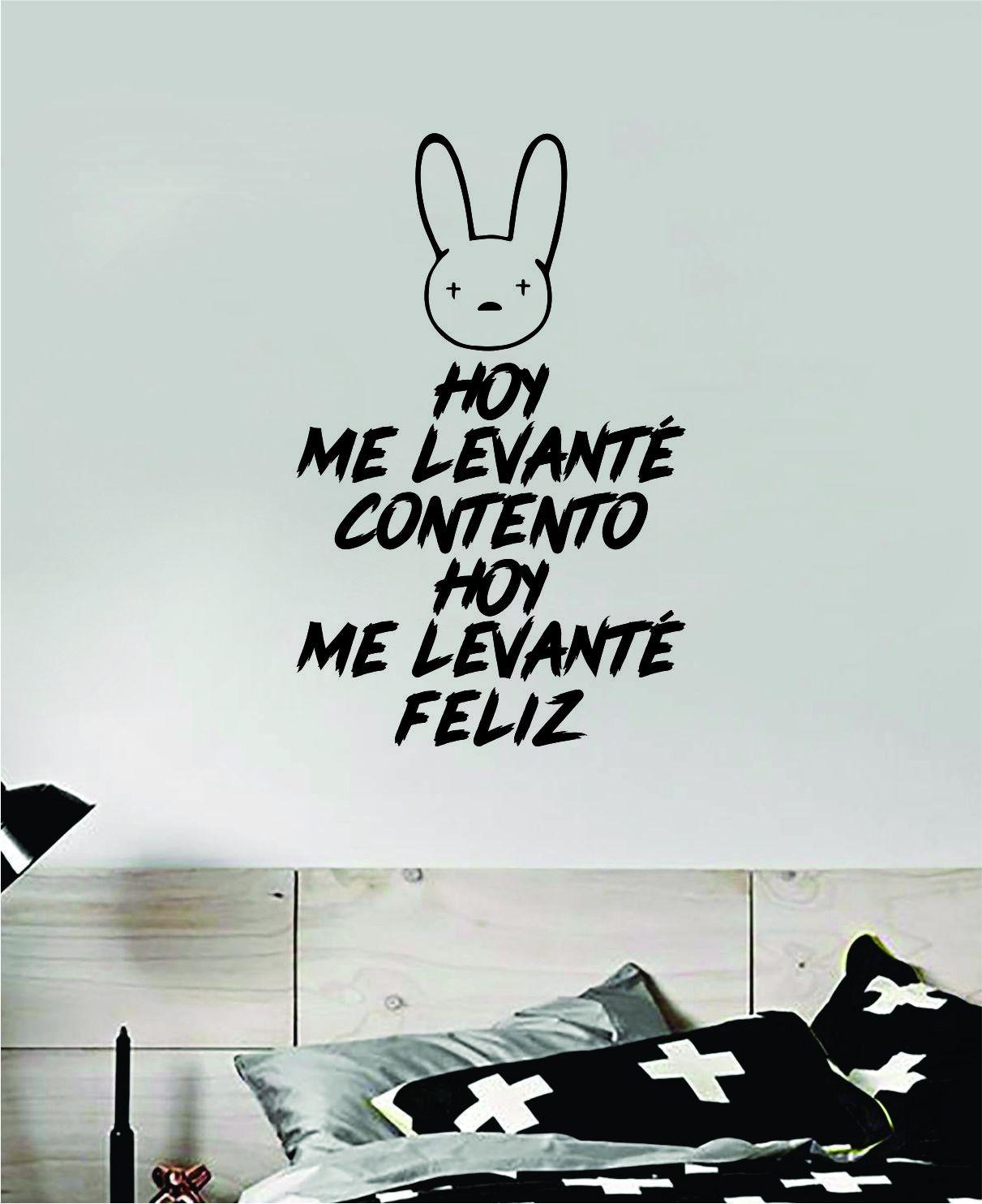 Bad Bunny Hoy Me Levante Feliz YHLQMDLG Wall Decal Home Decor Sticker Vinyl Bedroom Room Quote Spanish Music Reggaeton Girls Funny Teen Lyrics - gold