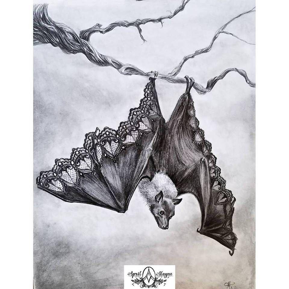 Bat illustration beautifully dysfunctional leather and lace bat