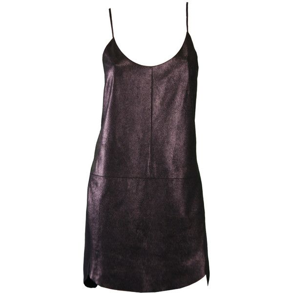 Mason Black Dust Lambskin Leather Cami Dress (€490) ❤ liked on Polyvore featuring dresses, cami dress, lambskin leather dress and camisole dress