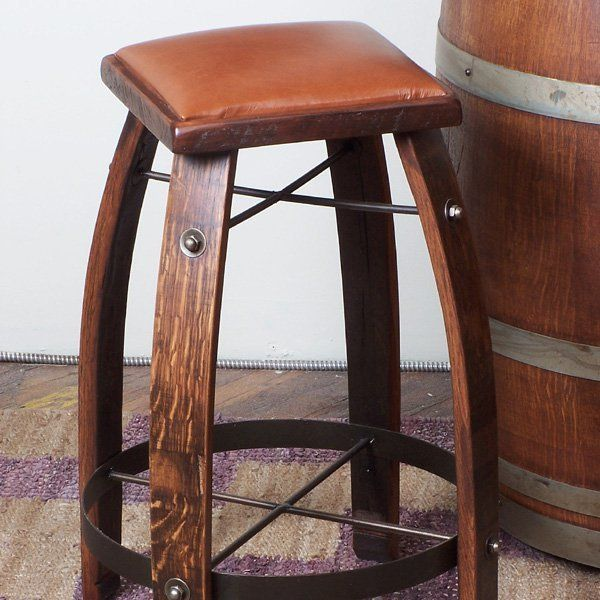 2 Day Designs Reclaimed 24 In Stave Counter Stool With Leather Seat Add Stylish Comfortable Seating With Barrel Furniture Wine Barrel Furniture Bar Stools