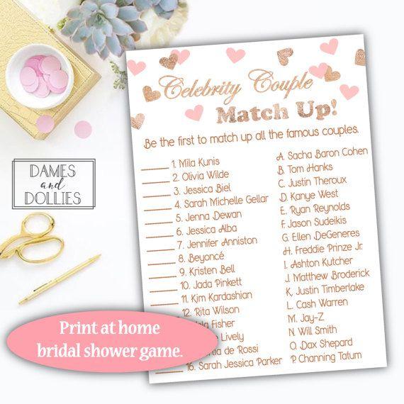 pink and rose gold bridal shower games celebrity couple bridal shower game printable instant download bridal shower rose gold foil game