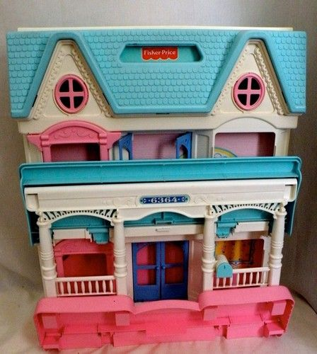 Vintage Fisher Price Loving Family Dollhouse 6364 Folding With Lots