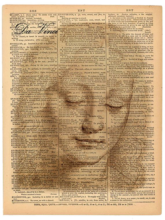 Da Vinci Drawing of Girl print. Vintage book page by BookwormSalon