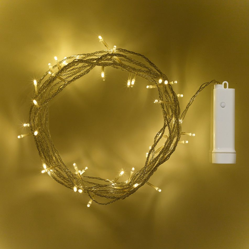 50 Warm White LED Outdoor Battery Fairy Lights On Clear