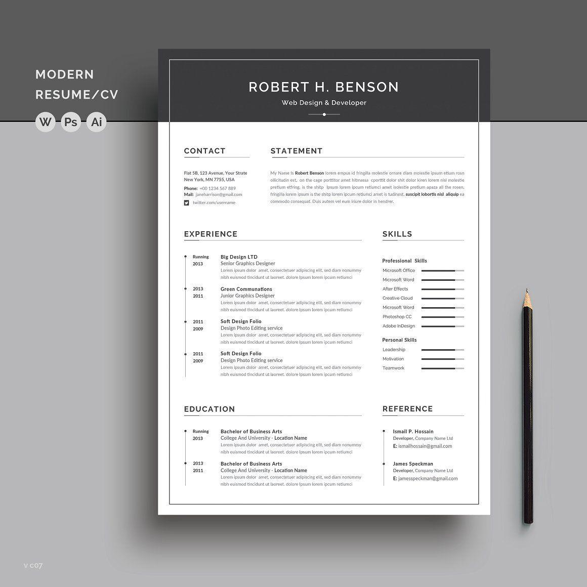 Word Resume/CV in 2020 Resume cv, Resume words, Cover