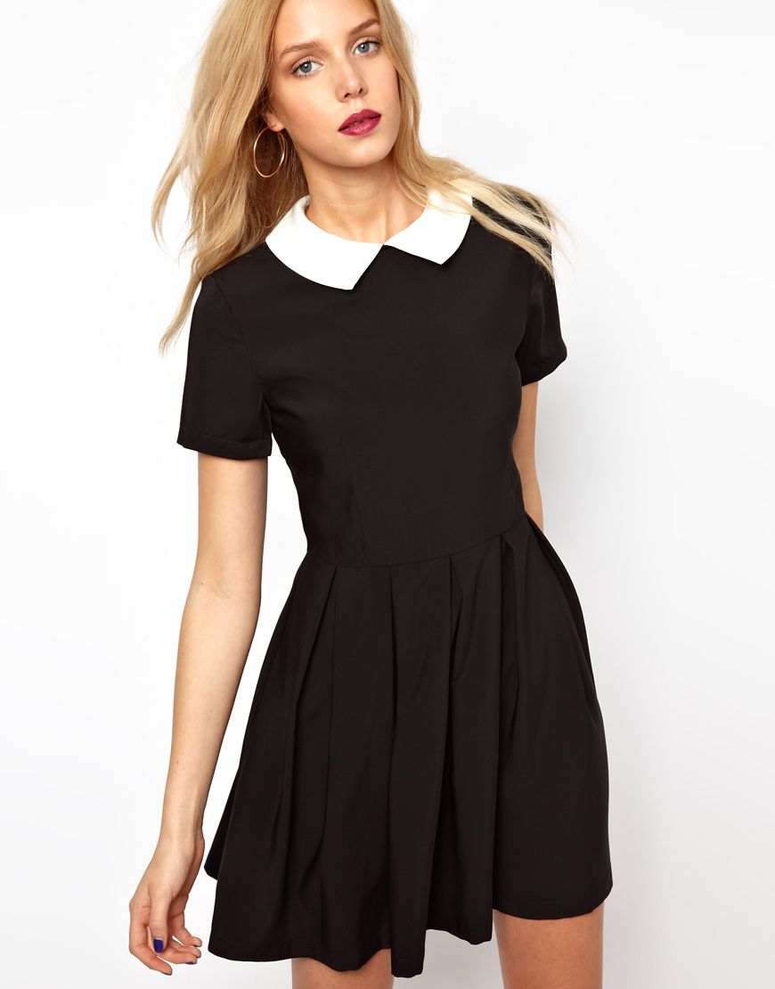 Black dress with white peter pan collar - Modern 1960s Style Monochrome Alice Collar Dress Lavish Alice Structured Skater Dress With Contrast Collar Peter Pan