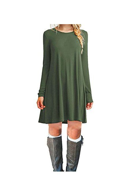 769de8c19b DEARCASE Women s Long Sleeve Casual Loose T-Shirt Dress