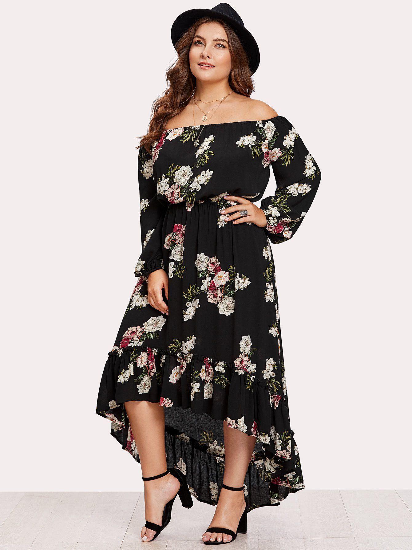 329202e41e2 Elasticized Waist Flounce Dip Hem Bardot Dress