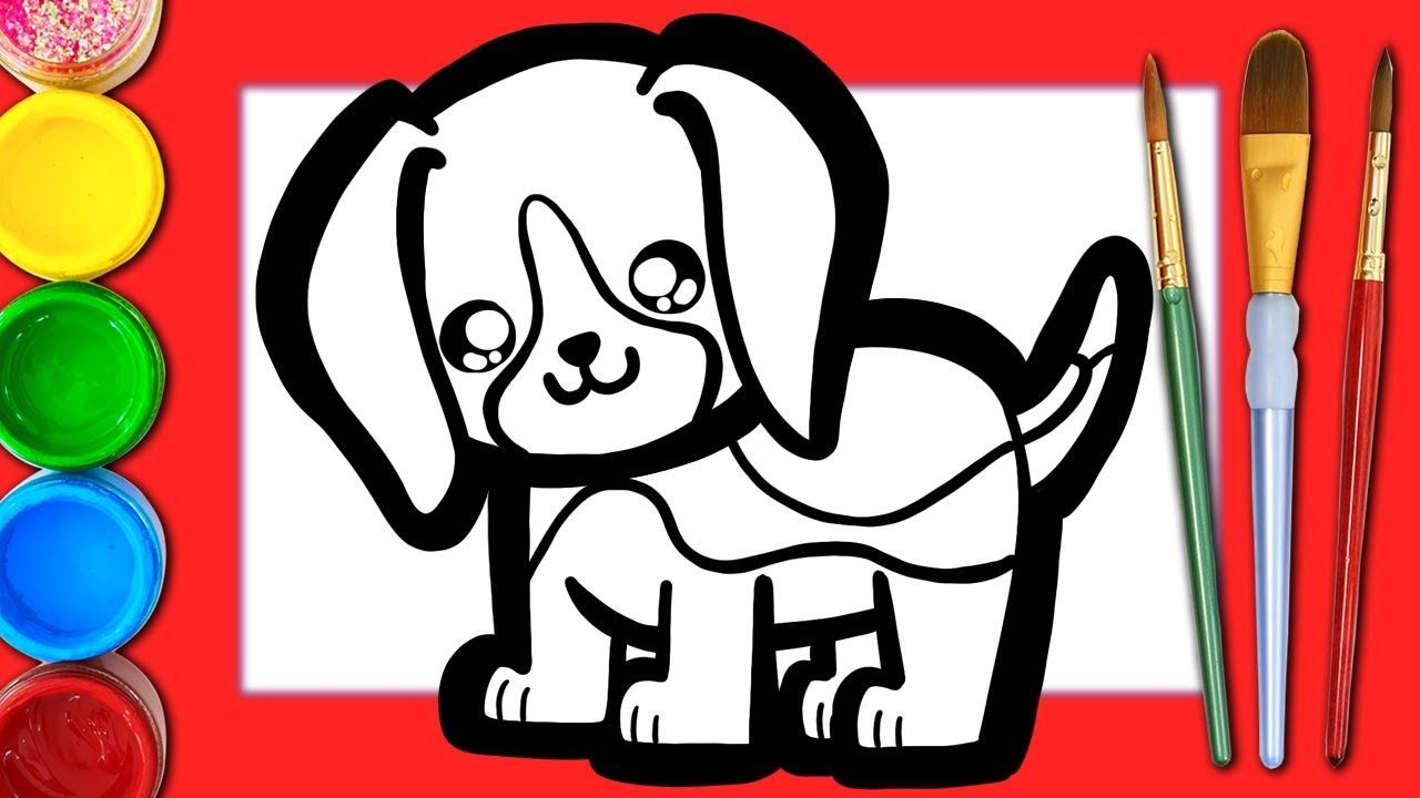 How To Draw A Cute Dog Beagle Learn Colors Dog Drawing For