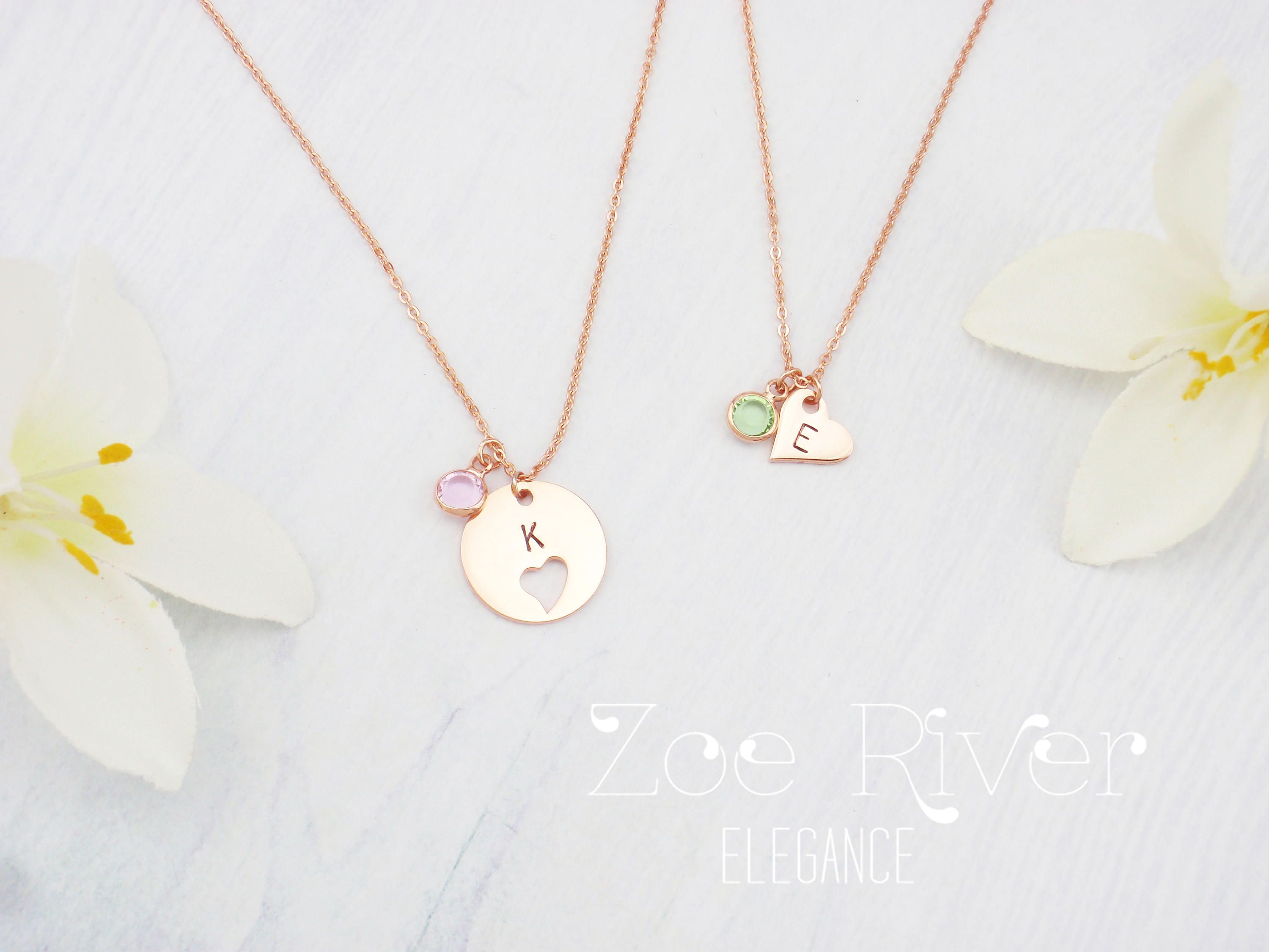 22e785afe838b Personalized mother daughter birthstone necklaces, choose rose gold ...