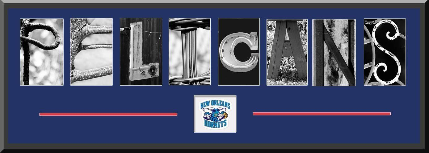 New Orleans Pelicans Alphabet Letters Art With Team Logo