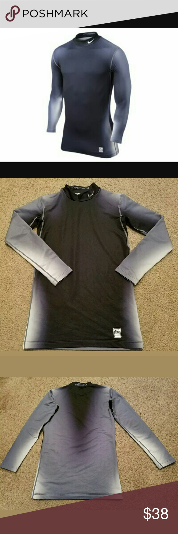 NWT Nike Men/'s Pro Combat Hyperwarm Dri-FIT Red Fitted Mock Neck Shirt