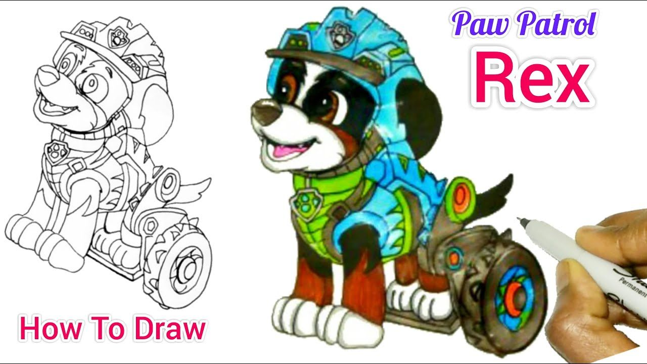 Rex From Dino Rescue Paw Patrol Drawing How To Draw Rex From Paw Patrol Easy Youtube Paw Patrol Paw Drawings