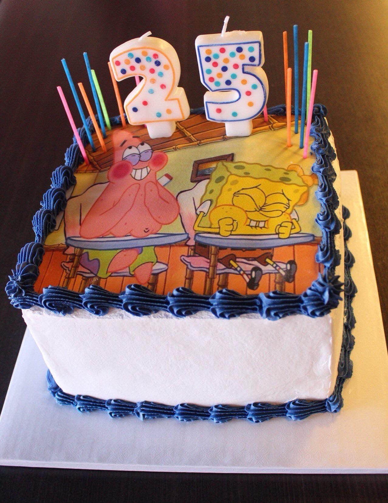 Spongebob Cake 25th Birthday Cakes Funny Birthday Cakes