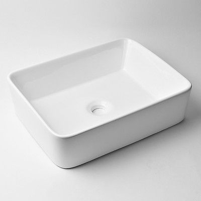 NEW Modern Ceramic Rectangle White Vessel Sink Bathroom Vanity Art