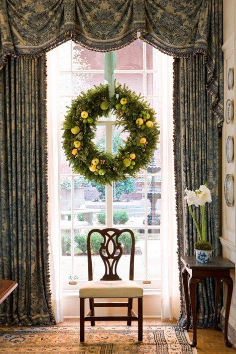 wonderful window treatment- frames the window perfectly