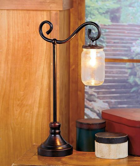 Mason Jar Table Lamp Distressed Bronze Toned Metal Country Rustic Home Decor Country Diseno De Iluminacion Ideas Hogar Decoracion De Unas