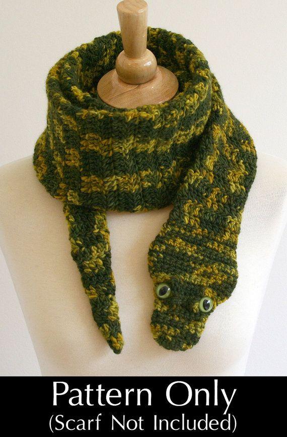 Digital PDF Crochet Pattern for Snake Scarf - DIY Fashion Tutorial ...
