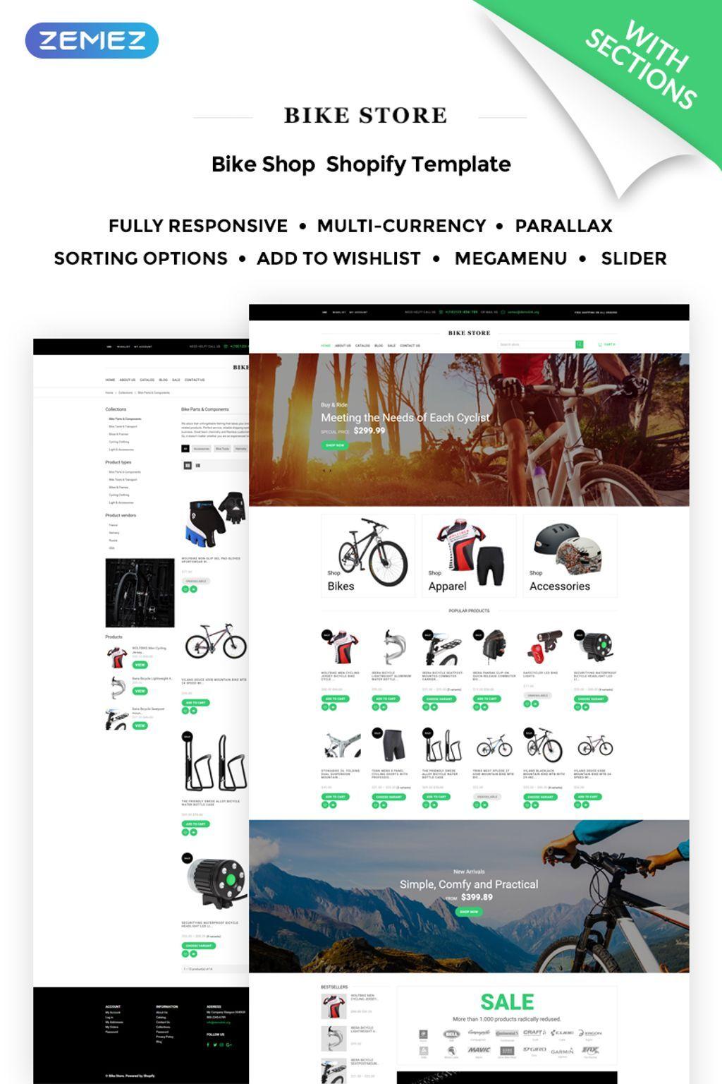 Bike Store Responsive Shopify Theme New Website Templates