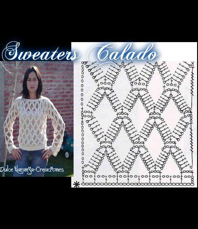 Sweaters tejido en crochet y dos agujas en hilo de algodón medio ...