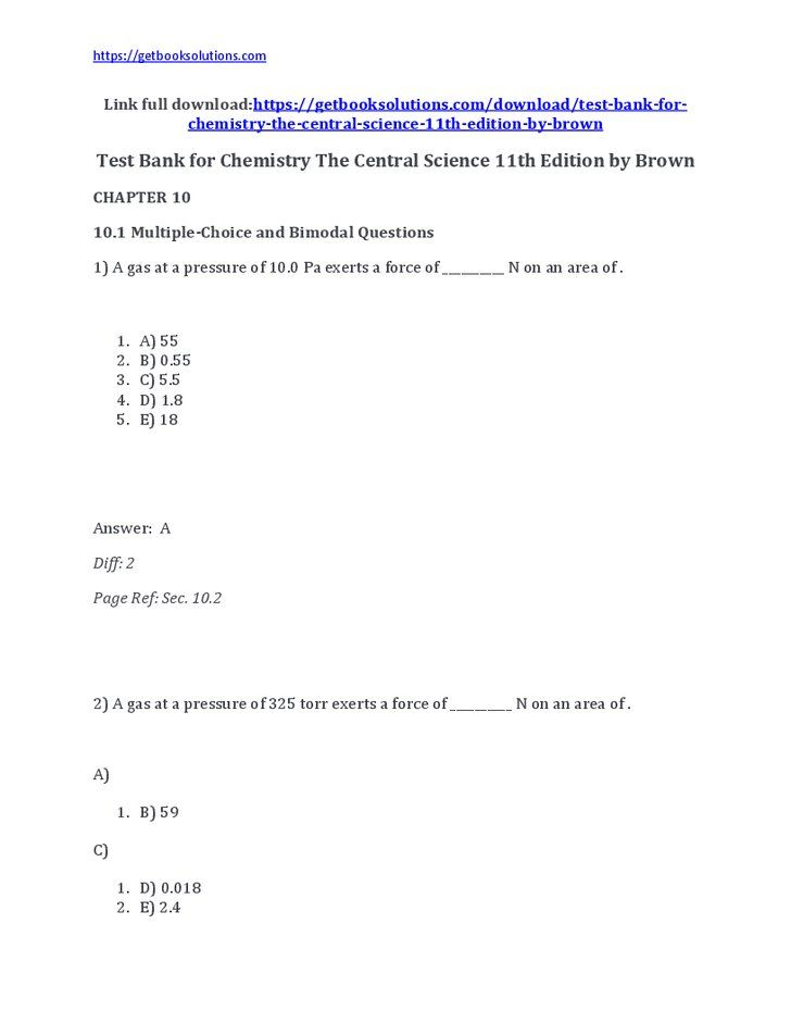 Test Bank for Chemistry The Central Science 11th Edition by