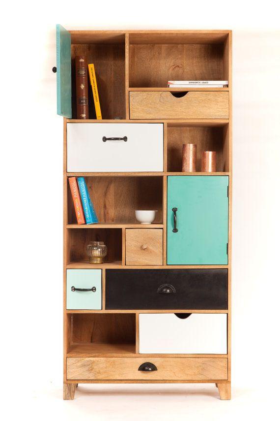biblioth que design bois tiroirs by sweetmangofrance on etsy bookshelf styling pinterest. Black Bedroom Furniture Sets. Home Design Ideas