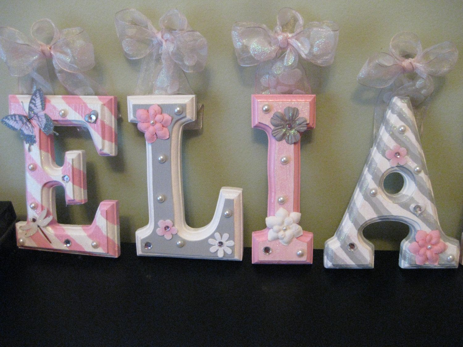 "'ELIANA' 6"" Grey And Pink Nursery Theme Letters"