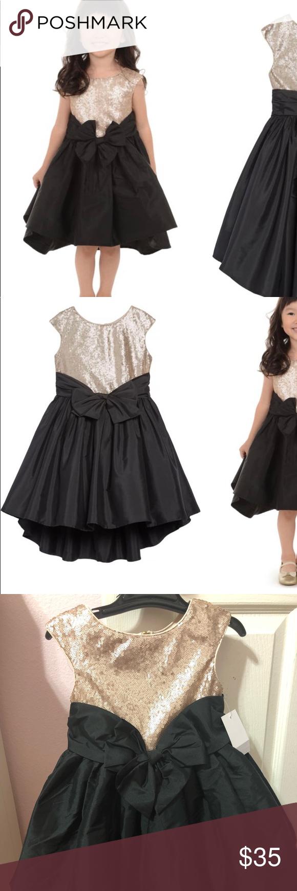 2t Gold Sequin And Black High Low Dress Black High Low Dress Dresses Clothes Design [ 1740 x 580 Pixel ]