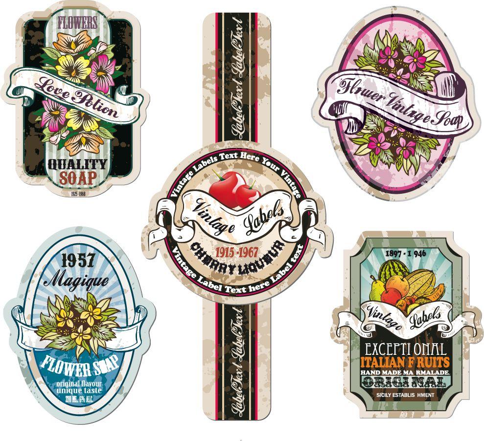 花やフルーツのレトロなラベル デザイン Retro Flowers Fruit Stickers