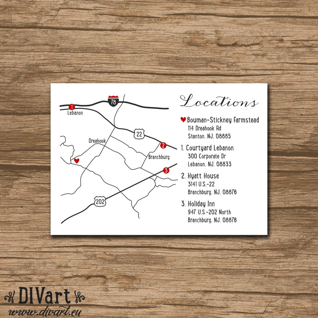 Custom Wedding Map Made To Match Printable File Enclosure