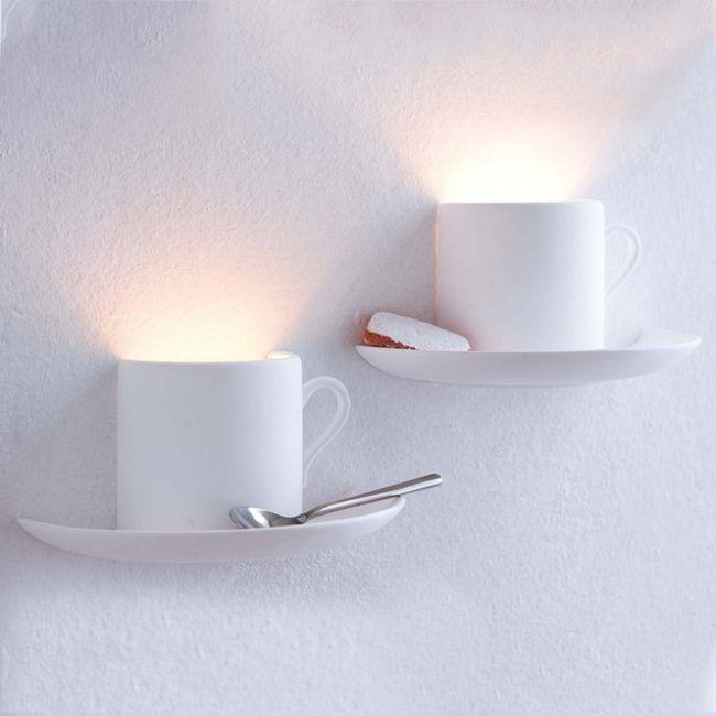 Kuchengestaltung wand deko ideen kaffeetassen wandleuchten - Kuchengestaltung wand ...