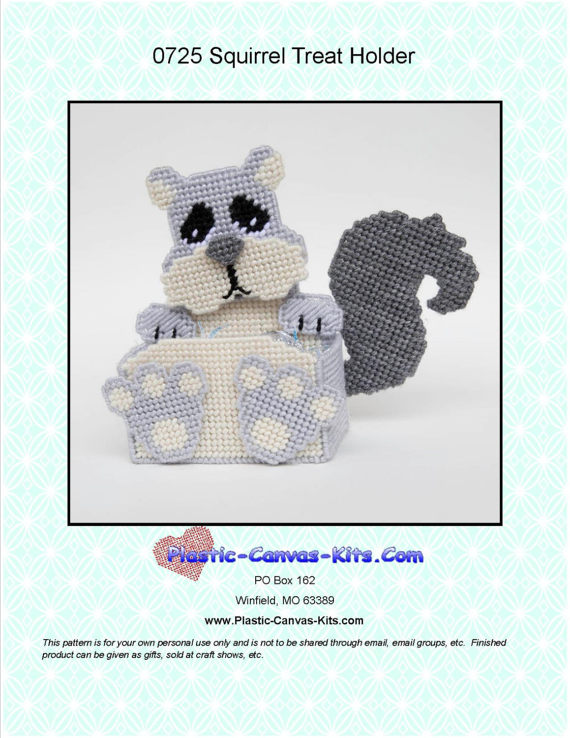 Squirrel Treat Holder-Plastic Canvas Pattern-PDF Download | Products ...
