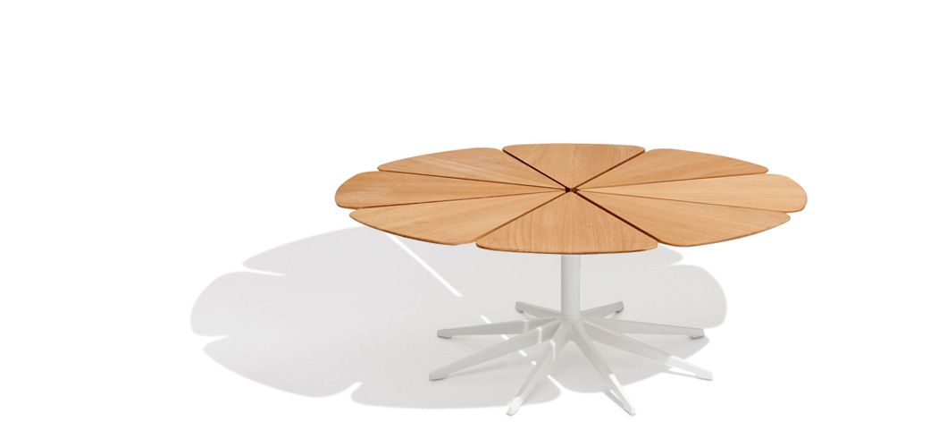 "Petal Coffee Table: Richard Schultz cites Queen Anne's Lace as his inspiration for this delicate outdoor table with its flower-like top sprouting from the elegant pedestal base. Each ""petal"" expands and contracts independently, ensuring stability in changing weather 