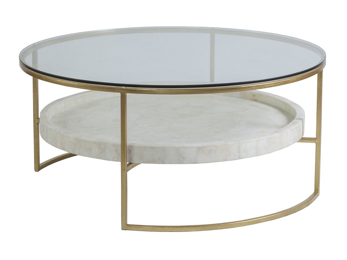 The Cumulus Round Cocktail Table Features An Iron Base In Gold Foil Finish Topped With Tempered G Coffee Table White Round Coffee Table Round Cocktail Tables [ 900 x 1200 Pixel ]