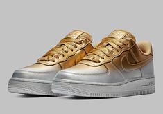 Nike Air Force 1 Ble Nike Air Force 1 Blends Gold And Silver