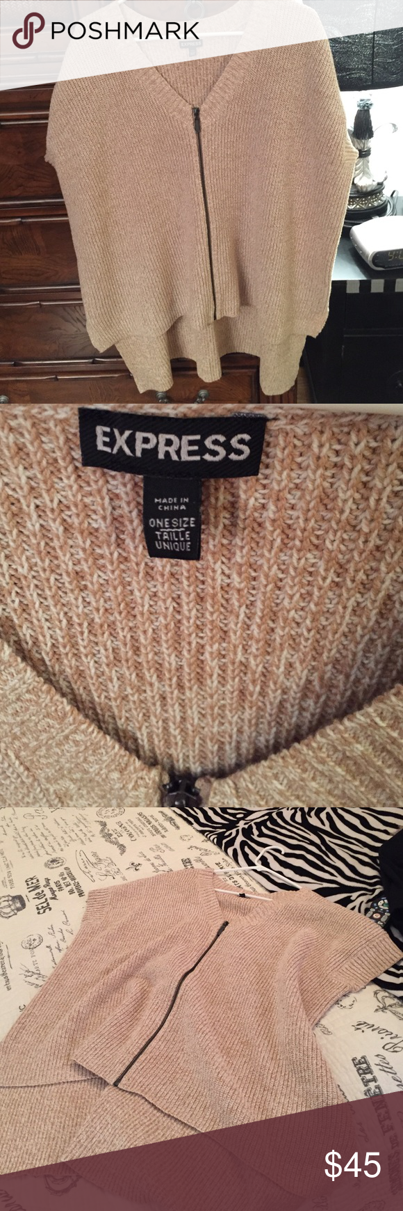 Brand new knit poncho Express oatmeal knit zip up poncho/ sweater wonderful layering piece for fall and it fits all sizes ... Express Jackets & Coats Capes