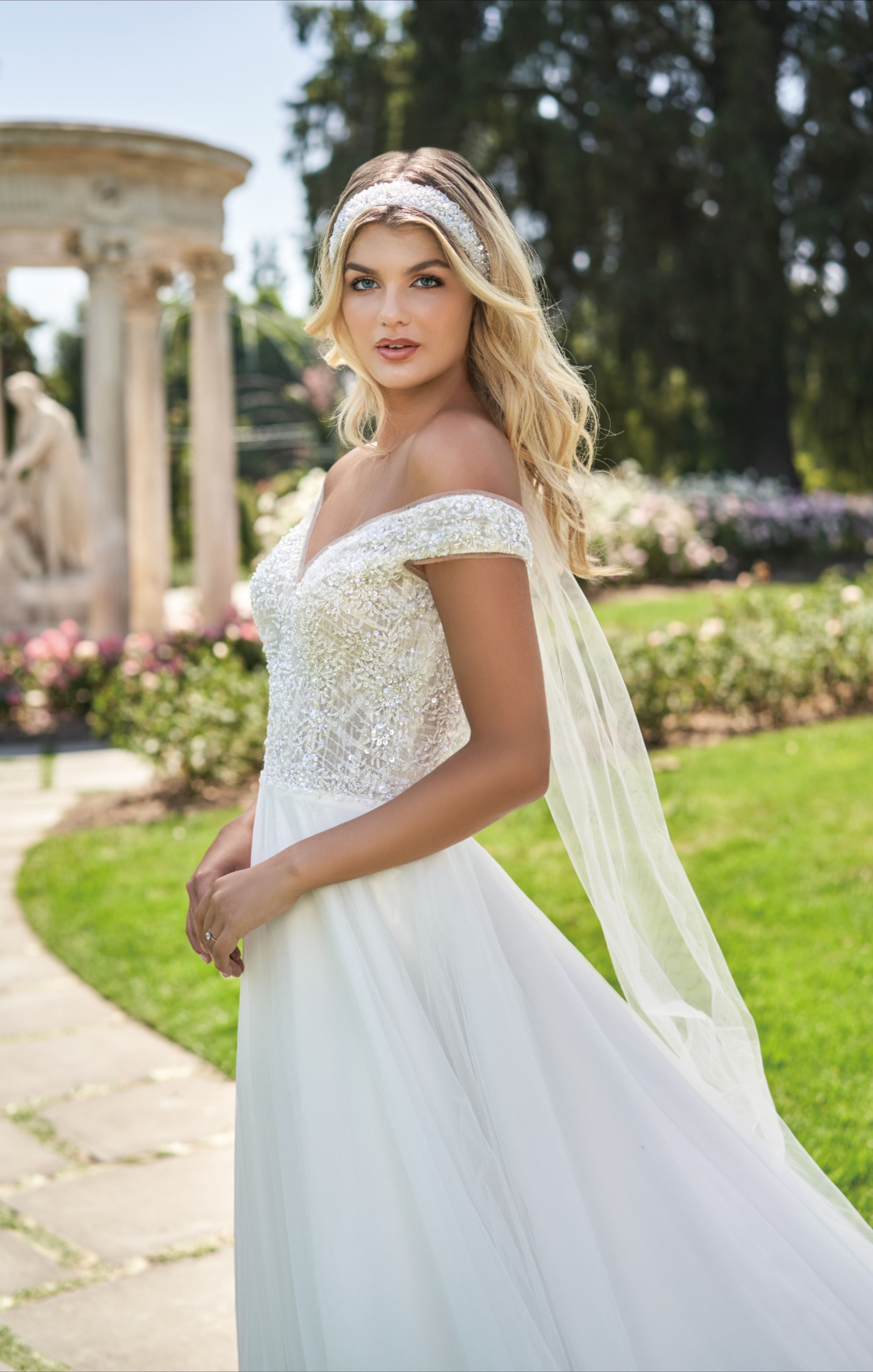 A true princess ball gown with an offtheshoulder