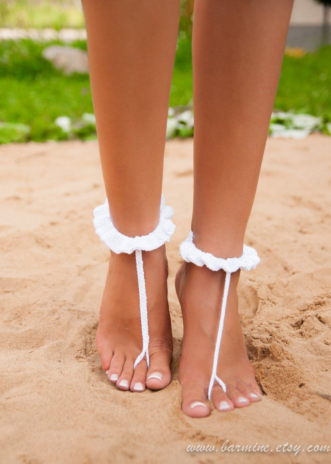 9d44045a2af843 White crochet barefoot sandal Bridal shoes Foot jewelry Footless ...