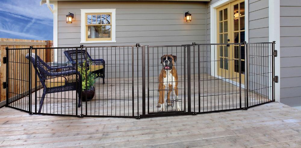 Carlson Pet S Weatherproof, Outdoor Pet Gate With Door