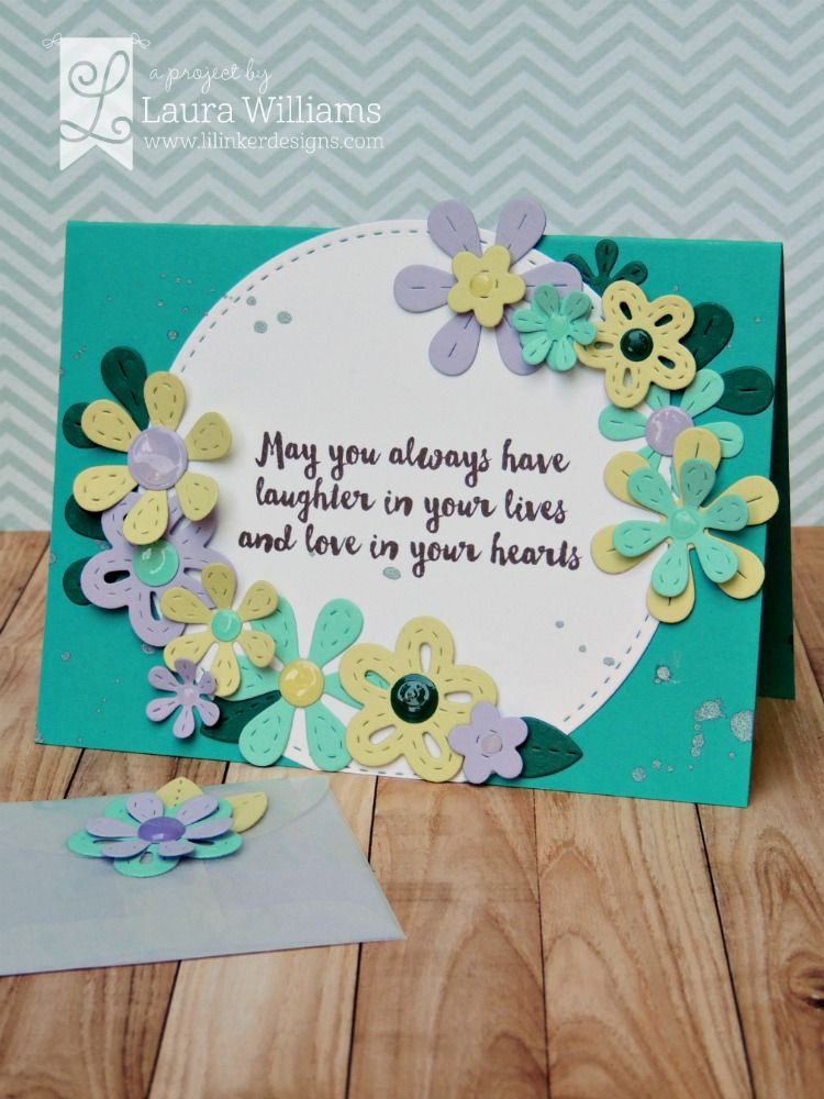 Card by Laura Williams, for Lil' Inker Designs April Release Blog Hop, featuring perky posies dies