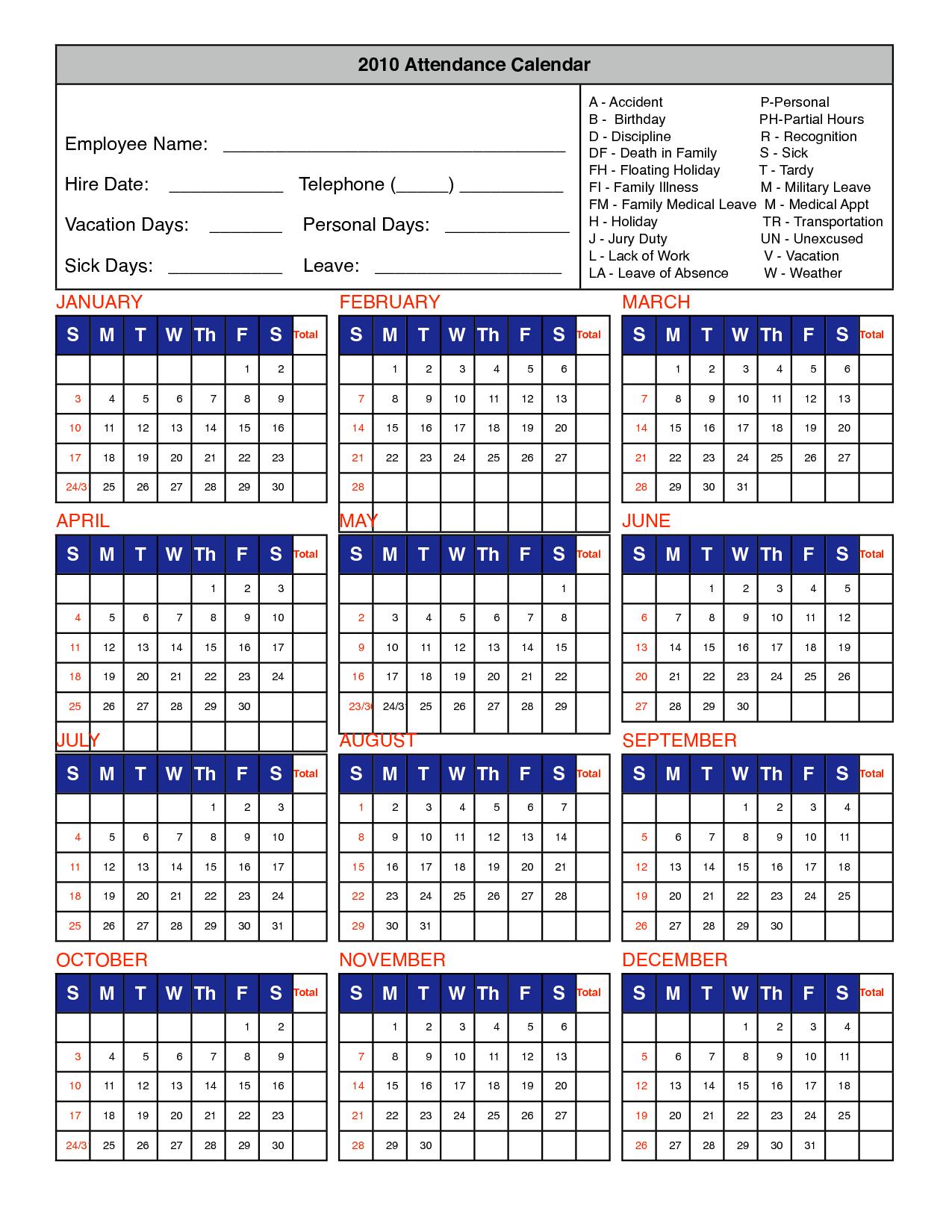 Printable 2019 And 2016 Calendar Printable Attendance Calendar 2016 Employee Attendance Calendar