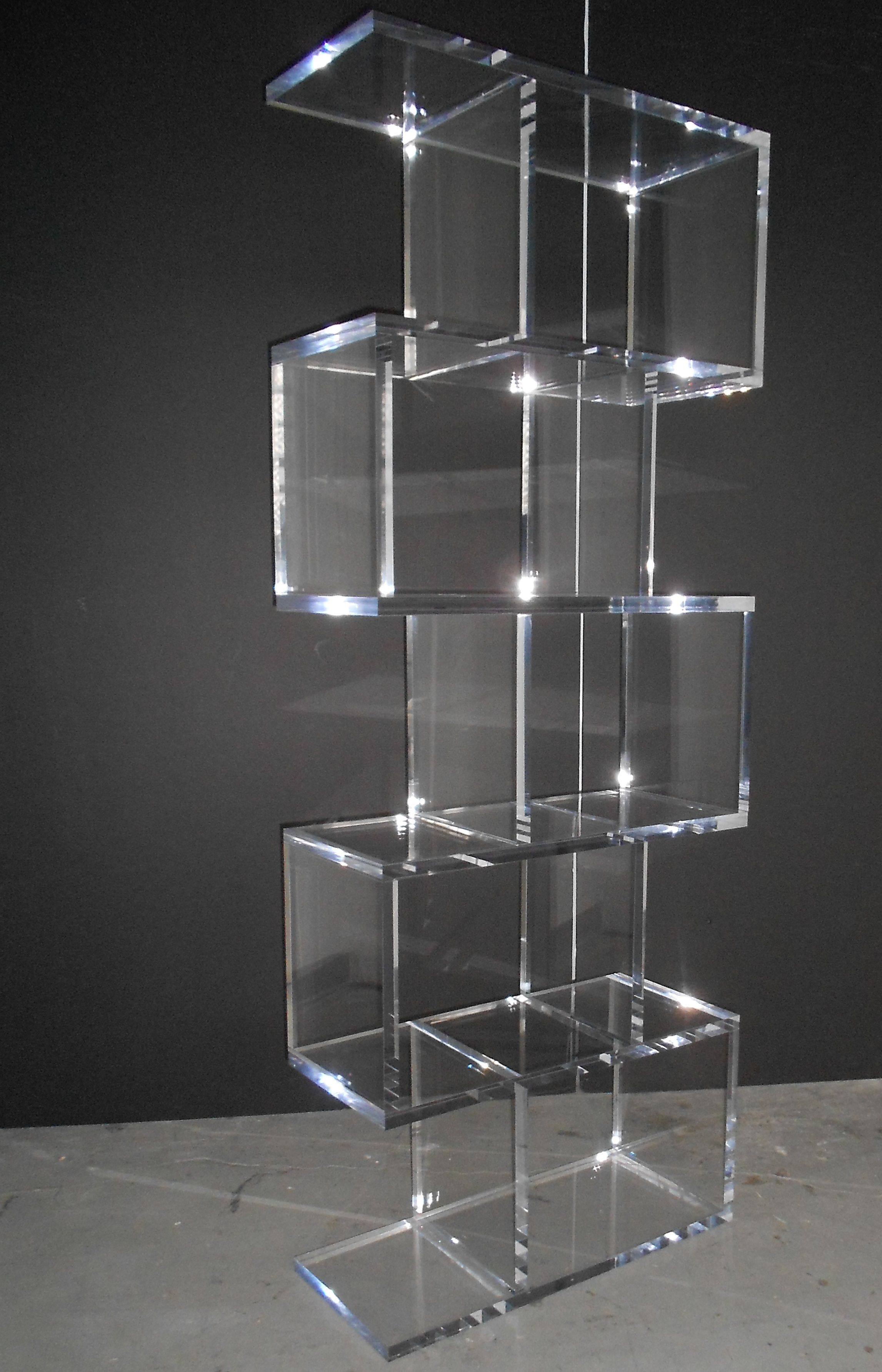 S4 Bookcase Glass Display Unit Lucite Furniture Acrylic Bookcase
