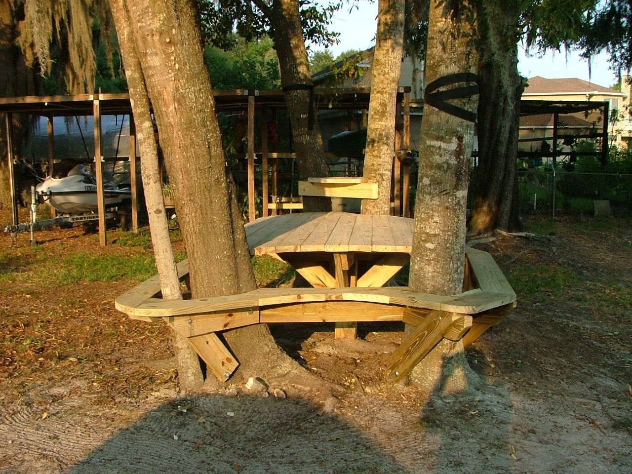 Maybe A Custom Bench Version Of This Around The Pine Trees Or Maybe I Can Just Modify My Picnic