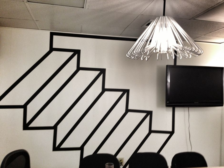 Our Makeshift Conference Room For Meetings. Black Tape As Wall Art As A  Staircase Illusion